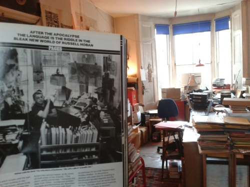 "Russell Hoban's workroom with original ""People"" review of Riddley Walker in foreground"